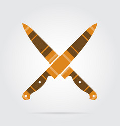 Orange black tartan icon - crossed kitchen knives vector