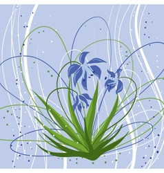 Pastel background with blue snowdrops vector image