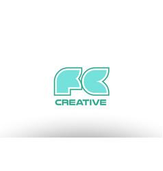Pastel green alphabet letter fc f c combination vector