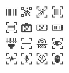 Qr code scanner and bar code scan line icon vector