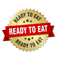 Ready to eat round isolated gold badge vector