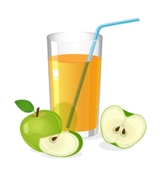 Realistic glass of apple juice drink with cocktail vector