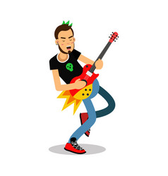 Rock musician playing on electrical guitar cartoon vector