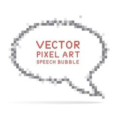 round speech bubble in pixel art style vector image