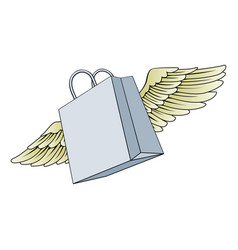 Shopping bag flying with wings concept vector