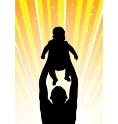 Silhouette of the father of holding child orange vector