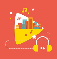 sounds of the big city with headphones vector image vector image