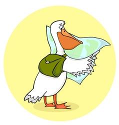 Traveling pelican vector