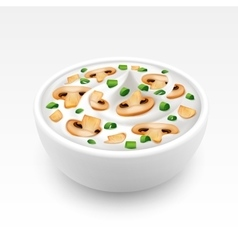 Bowl of cream sauce with onion and champignons vector