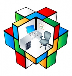 rubik office cubicle vector image