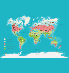 world map climate zone and animal vector image