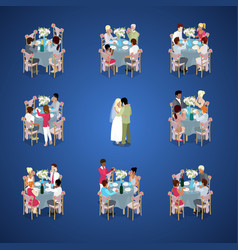 Wedding ceremony isometric vector