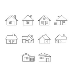 Thin line home icon set vector