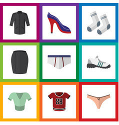 Flat icon garment set of sneakers underclothes vector