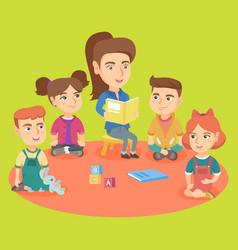 caucasian kindergartener reading a book for kids vector image