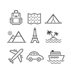 Travel and tourism icon set simplus series each vector