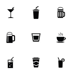 Drinks 9 icons set vector