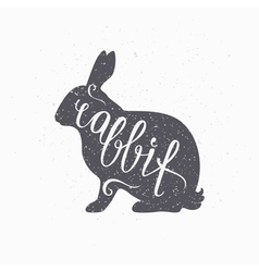 Hipster style hare silhouette rabbit meat hand vector