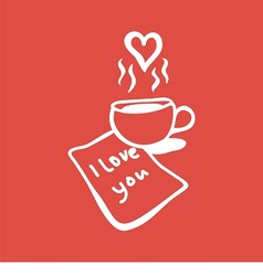 Letter with love message and cup of coffee vector