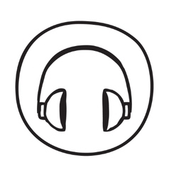 Doodle headphones icon vector
