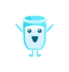 Glass of milk character vector