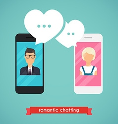Online chat man and woman Online dating graphic vector image
