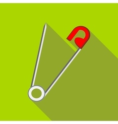 Open safety pin icon in flat style vector