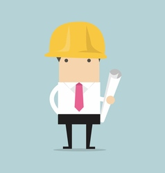 Architect or engineer in yellow safety helmet vector