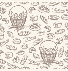 bakery products seamless pattern vector image vector image