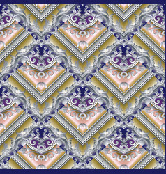 baroque seamless pattern damask floral vector image vector image
