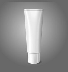 Blank white realistic tube for toothpaste lotion vector