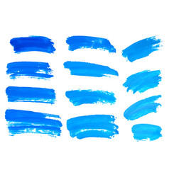 Blue watercolor brush strokes abstract isolated vector