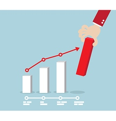 Business Concept Hand Putting Red Up Graph vector image vector image
