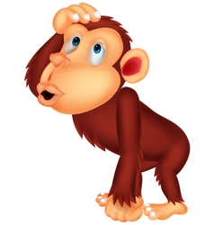 Chimpanzee cartoon thinking vector