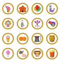 Circus icons set cartoon style vector