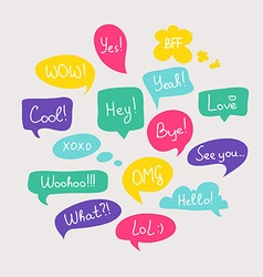 Colorful questions speech bubbles set in flat vector image vector image