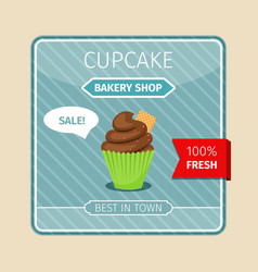 Cute card brown cupcake with gaufre vector