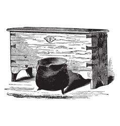 elder brewsters chest and dinner pot vintage vector image