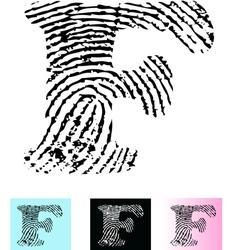 Fingerprint Alphabet Letter F vector image vector image