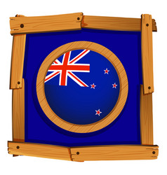 Flag of new zealand on wooden frame vector