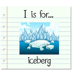 Flashcard letter i is for iceberg vector