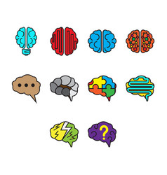 Flat color brain icon set vector