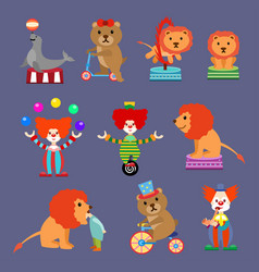 Flat set of circus animals and clowns vector