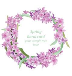 floral blossom round card frame spring summer vector image vector image