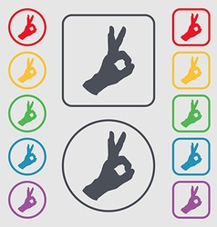 Gesture ok icon sign symbol on the Round and vector image