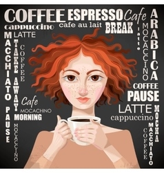 Ginger girl with coffee vector