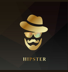 Golden hipster man hipster hat vector