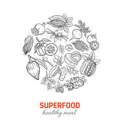 Hand drawnn superfood round poster vector