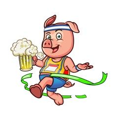 Marathon Pig Holding Beer vector image vector image