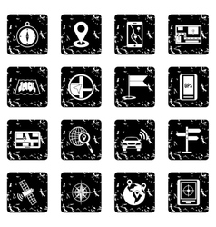 Navigation set icons grunge style vector